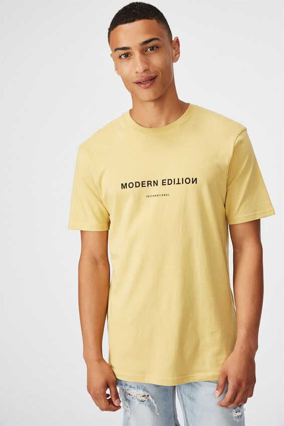 Tbar Text T-Shirt, FROSTED HONEY/MODERN EDITION FLIPPED