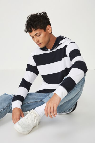 Hooded Waffle Long Sleeve, WHITE/TRUE NAVY LARGE STRIPE