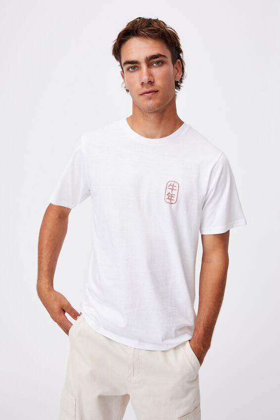 Tbar Cny T-Shirt, WHITE/RAMEN BULL