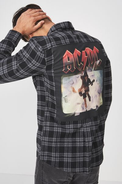 Rugged Long Sleeve Collaboration Shirt, BLACK CHECK/ACDC