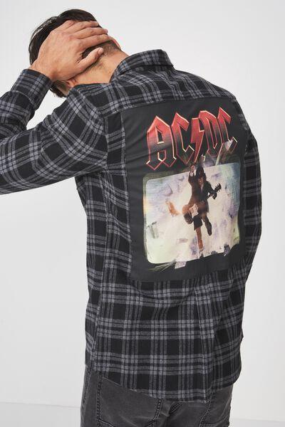 Rugged Long Sleeve Collaboration Shirt, BLACK CHECK/ACDC