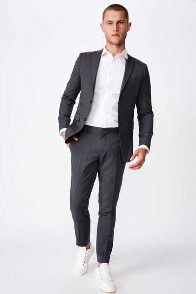 Wool Blend Slim Suit Jacket, CHARCOAL