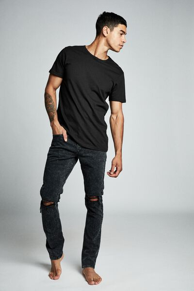 Slim Fit Jean, MOTTLE BLACK BLOWOUT
