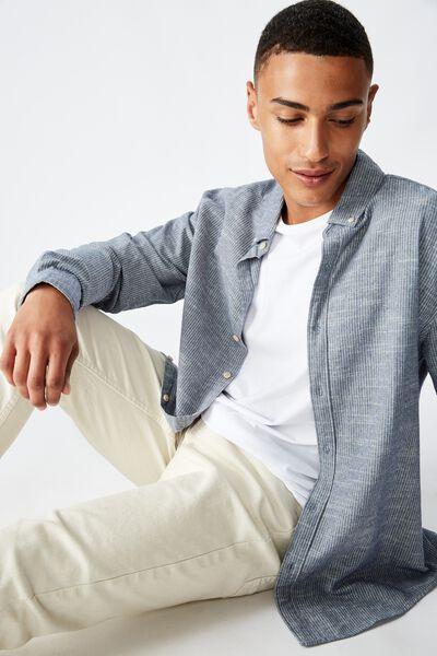 Textured Long Sleeve Shirt, INDIGO FINE STRIPE