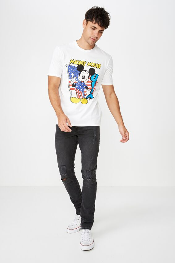 Tbar Collab Character T-Shirt, LCN DIS WHITE/MICKEY FLAG
