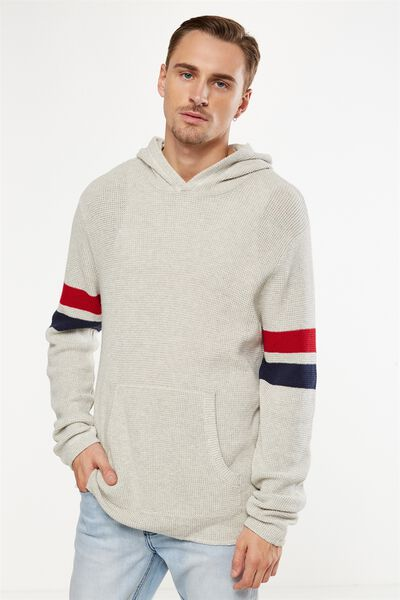 Hooded Waffle Knit, GREY MARLE STRIPE
