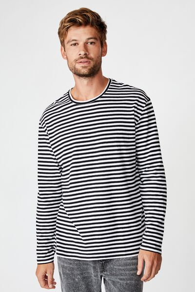 Tbar Premium Ls, BLACK/WHITE 50/50 STRIPE