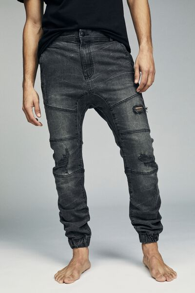 Slim Denim Jogger, CASTLE GREY BIKER