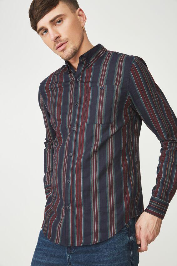 91 Shirt, INDIGO RED VERT STRIPE