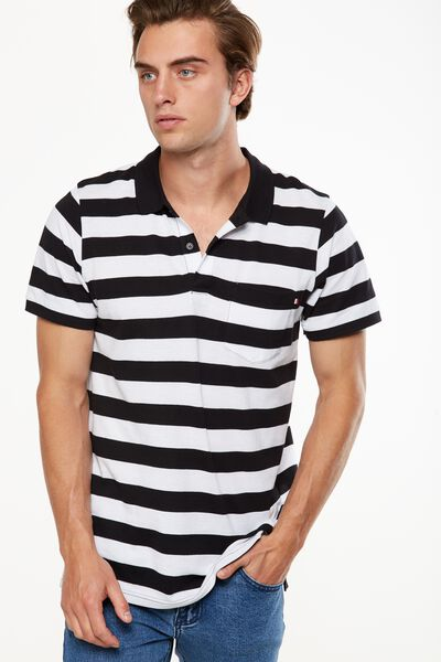 Icon Polo, BLACK/WHITE BOLD STRIPE SLIM