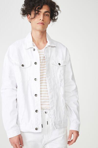Oversized Trucker Jacket, WHITE