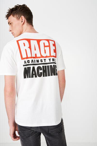 Music T-Shirt, LC SK8 VINTAGE WHITE/RATM - LIVE