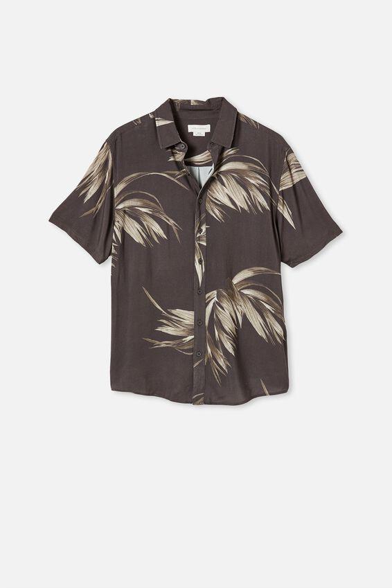 Short Sleeve Resort Shirt, BROWN SPACED FRONDS