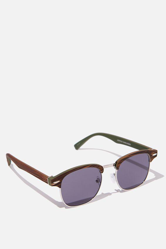 Leopold Sunglasses, WOODGRAIN SILVER SMOKE