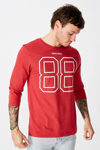 Tbar 3/4 Baseball Tee, RACE RED/DESTROY 88