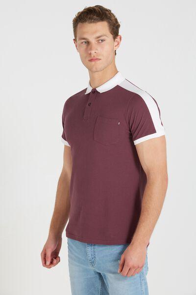 Short Sleeve Panel Polo Slim Fit, PLUM/WHITE