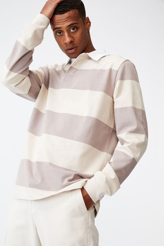 Rugby Long Sleeve Polo, DUSK/BONE BLOCK STRIPE