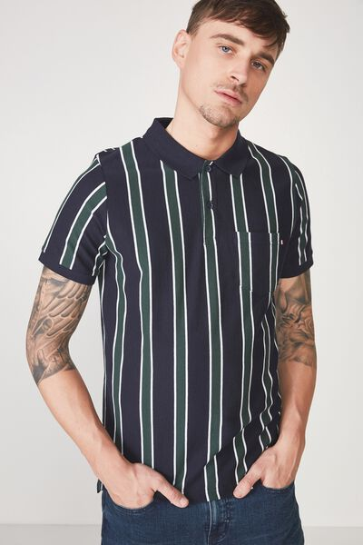 Icon Polo, NAVY GREEN STRIPE