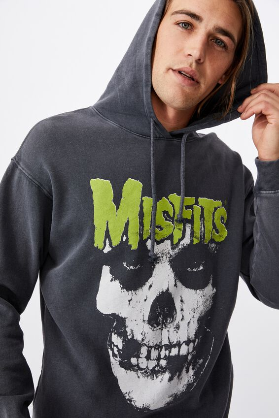 Premium Collab Fleece Pullover, LCN BM FADED SLATE ACID MISFITS HEAD