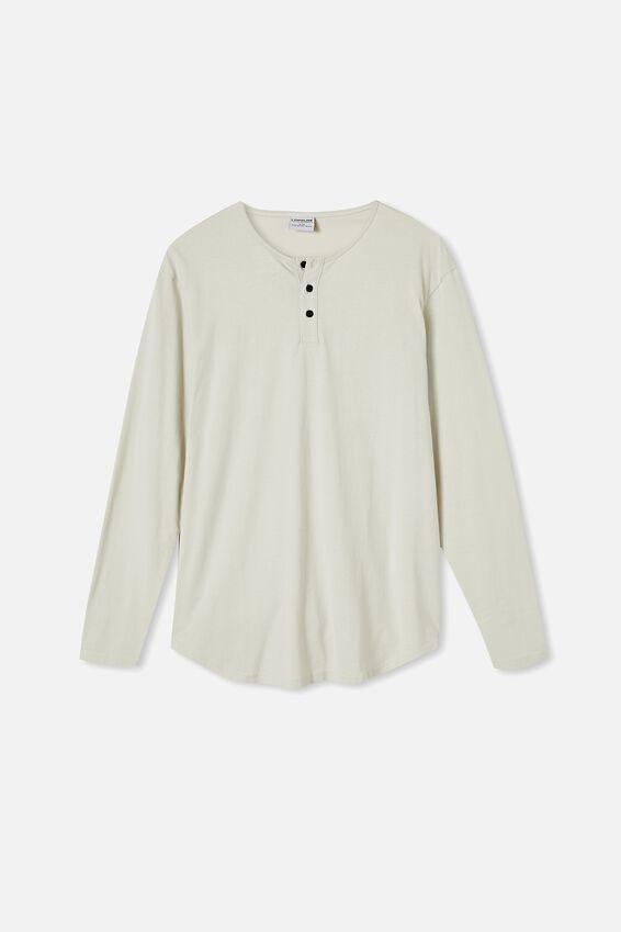 Longline Scoop Henley Long Sleeve T-Shirt, IVORY