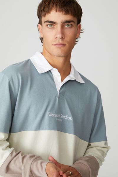 Rugby Long Sleeve Polo, CITADEL/IVORY/DUSK WEEKDAY STUDIOS