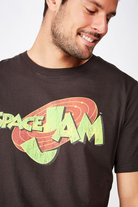 Tbar Collab Movie And Tv T-Shirt, LCN WB WASHED BLACK/SPACE JAM - LOGO