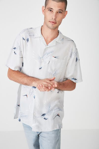 91 Short Sleeve Shirt, BAMBOO CRANE