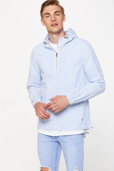 Seersucker Spray Jacket, BLUE/WHITE STRIPE