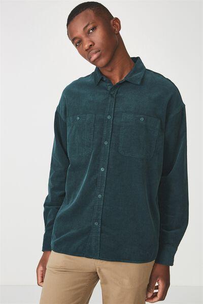 Long Sleeve Workwear Shirt, TEAL CORD