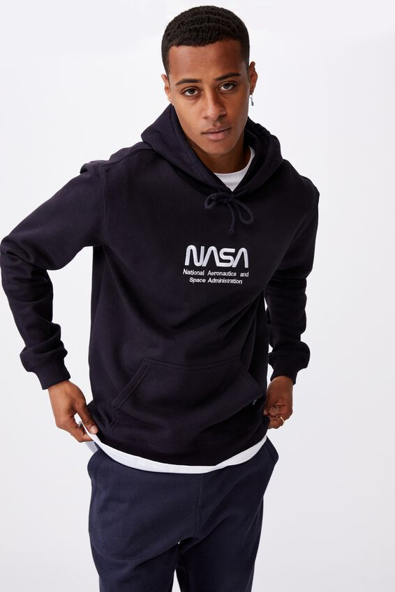 Collab Fleece Pullover, LCN NAS INK NAVY/NASA LOGO