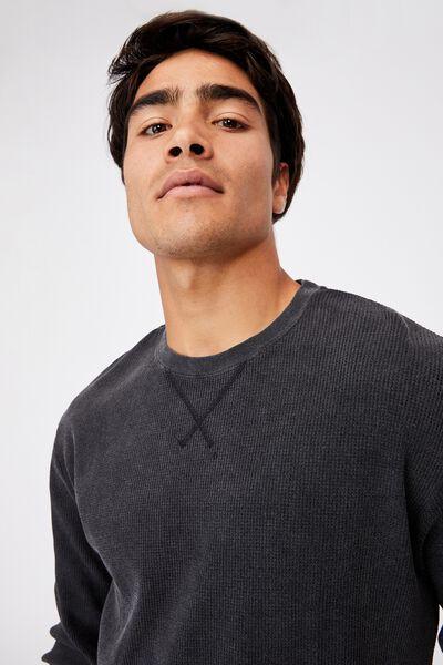 Acid Waffle Long Sleeve T-Shirt, WASHED BLACK ACID