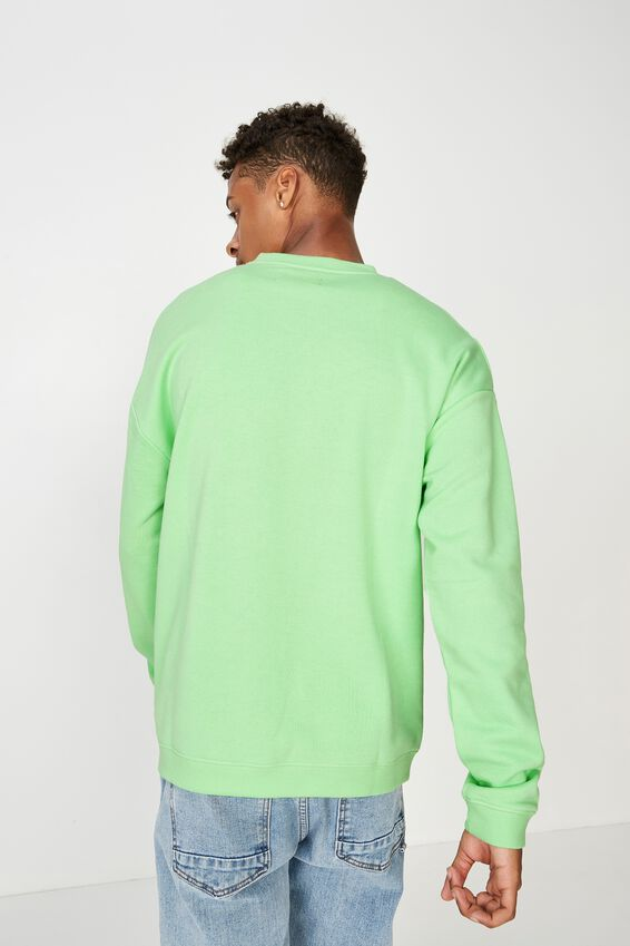 Summer Drop Shoulder Crew Fleece, NEON GREEN/NY DISTRICT