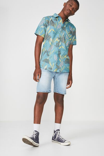 Short Sleeve Resort Shirt, TEAL FLORAL