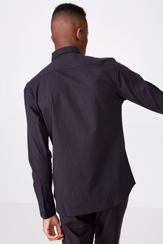 Tailored Long Sleeve Shirt, BLACK