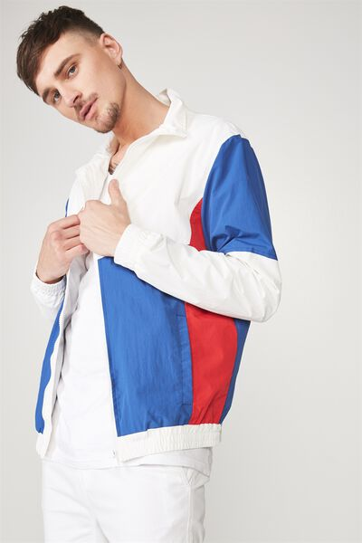 Retro Track Jacket, WHITE/COBALT