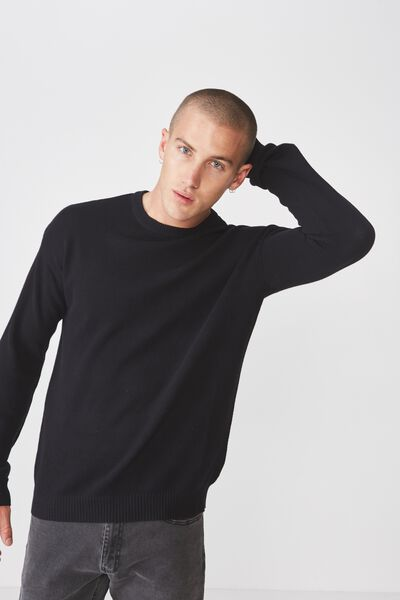 Lightweight Crew Sweater, BLACK