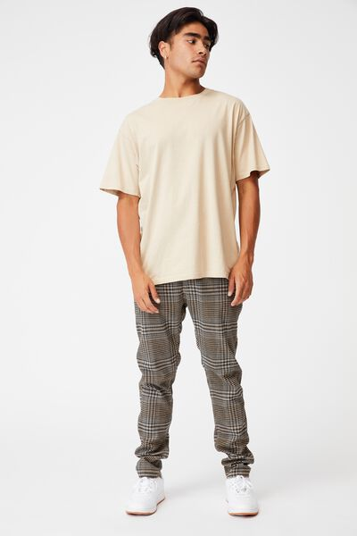 Skinny Stretch Chino, BEIGE OVERSIZED CHECK