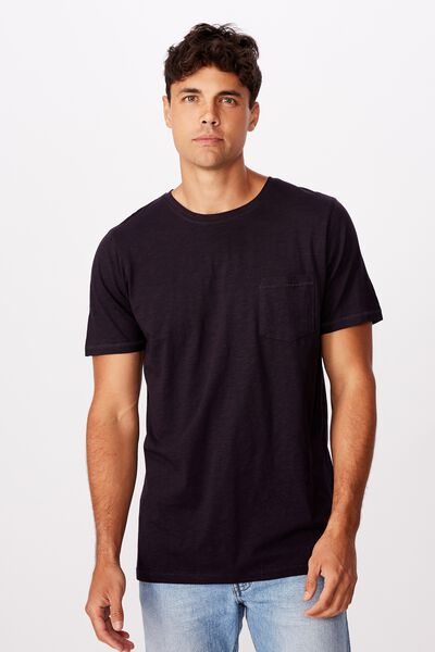 Slub Crew Neck Tee, INK NAVY