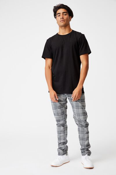 Skinny Stretch Chino, GREY OVERSIZED CHECK
