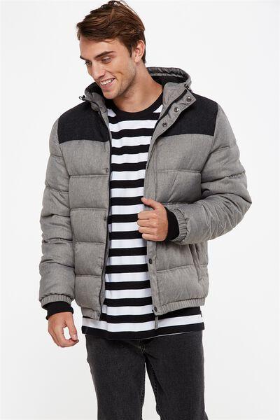 Textured Puffer Jacket, GREY