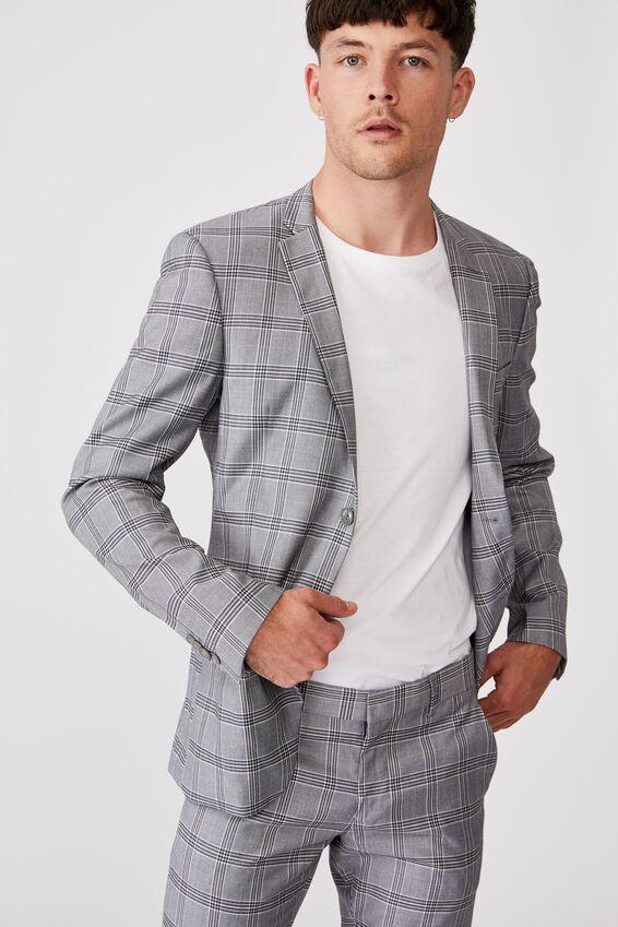 Fashion Slim Stretch Suit Jacket, GREY CHECK