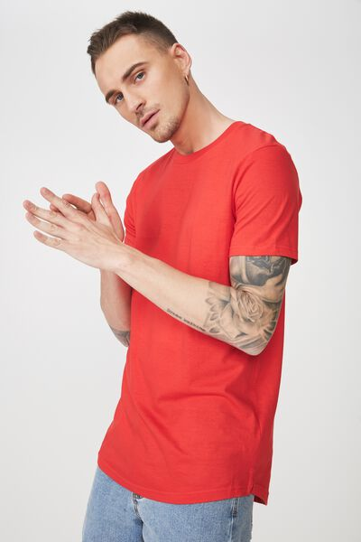 Essential Longline Curved Hem, STRONG RED