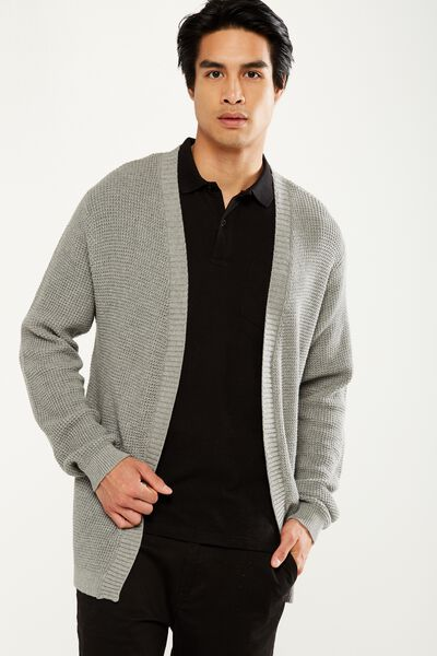 Lightweight Cable Cardi, GREY MARLE CABLE
