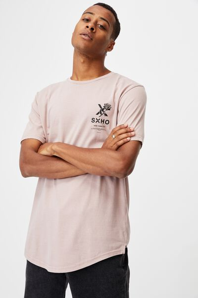 Longline Scoop T-Shirt, MAUVE/SOHO ROSE
