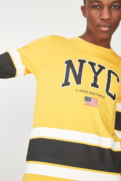 Tbar 3/4 Baseball Tee, ZINNA YELLOW/NYC SPORTSWEAR