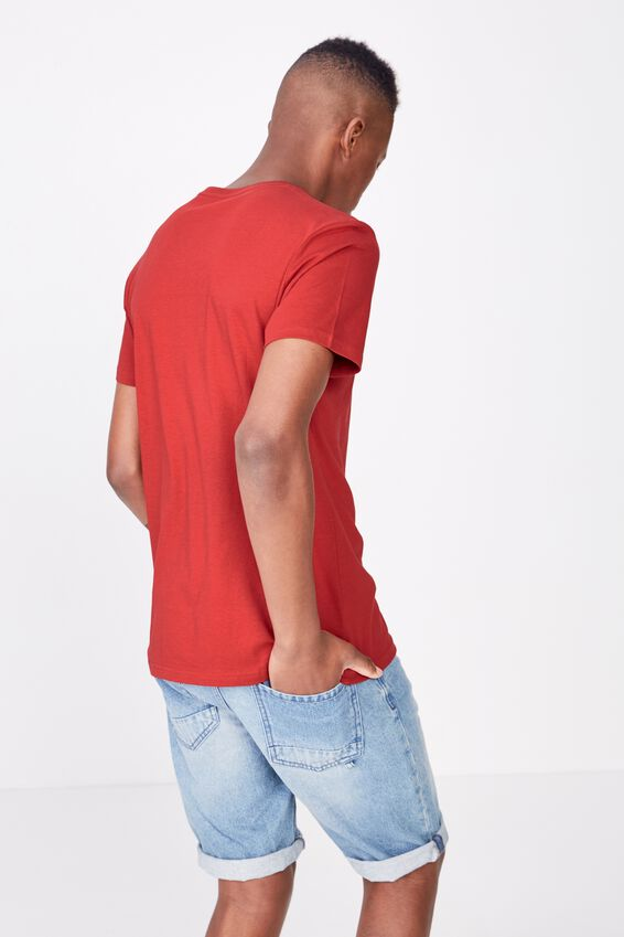 Essential Vee Neck T-Shirt, RACE RED