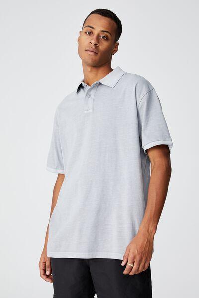 Oversized Washed Polo, OVERCAST GREY