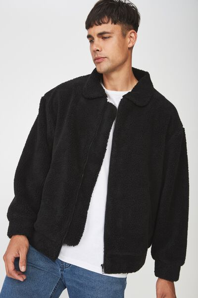 Teddy Fleece Zip Up, BLACK