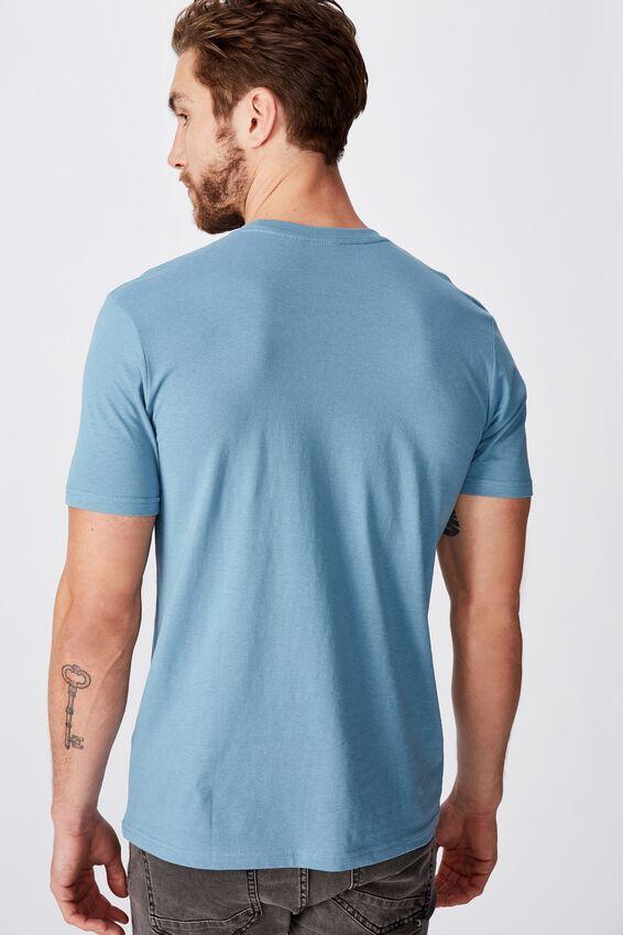 Tbar Text T-Shirt, ADRIATIC BLUE/HAPPY SUN POCKET