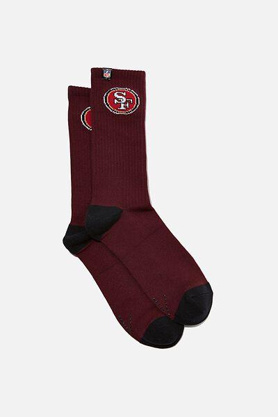 Performance Active Sock, LCN NFL BURG/49ERS